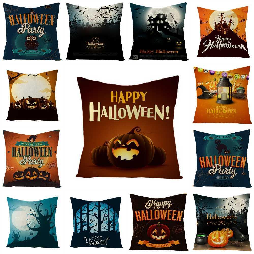Funda de cojín estampada de noche de Halloween de lichi 45x45 cm Funda de cojín de lino colorida para dormitorio Oficina en el hogar