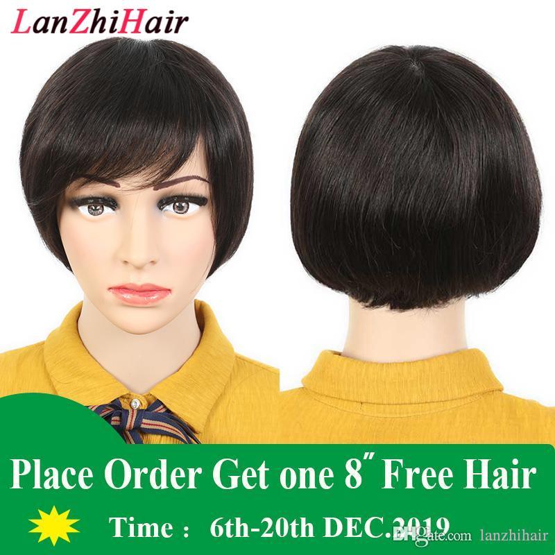Para peluca Negro 9A pelucas de pelo Bob Corte cordón del pelo humano completo Mujeres completo Culticle Corto Bob Ninguno de encaje pelucas para mujeres Negro