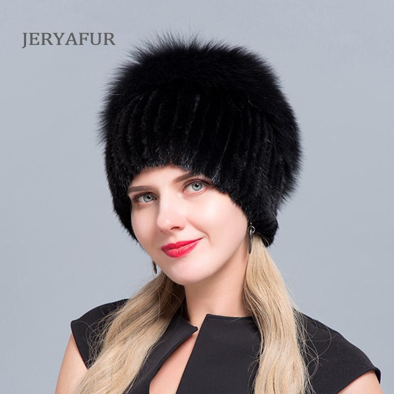 JERYAFUR russe chaud BONNETS bon chapeaux femmes chapeau de fourrure des femmes d'hiver tricotées réel bonnets de fourrure d'argent de vison femelle