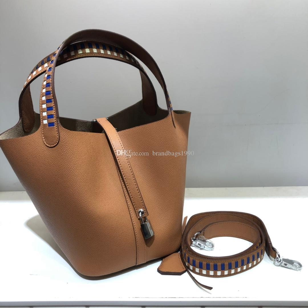 Two-tone 22CM Fashion Bags High Crochet Totes Espom Shoulder Cowhide Genuine Wholesale Women Bags Quality Bucket Leather Handbag Lady 0 Onlg