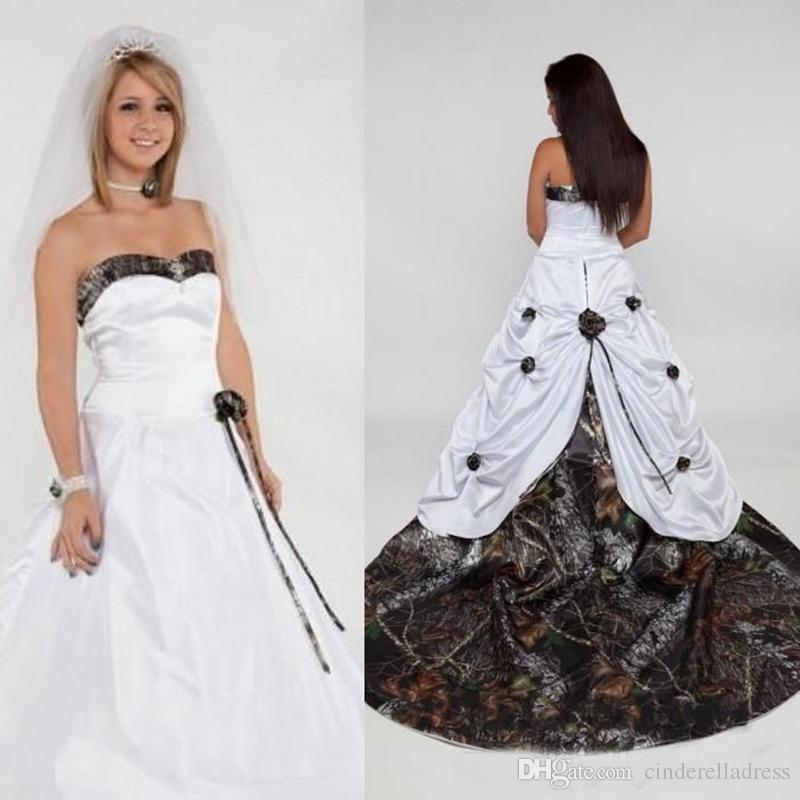 2020 Country Sweetheart Camo Wedding Dresses Handmade Flowers Satin robe de mariée Long Bridal Gowns Custom Made BC2568