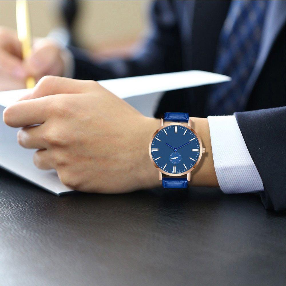 12019 Sıcak Satış Çift Moda Deri Kayış Analog Kuvars Yuvarlak Erkekler Bilek Saat Minimalist Stil İş Erkek Saatler