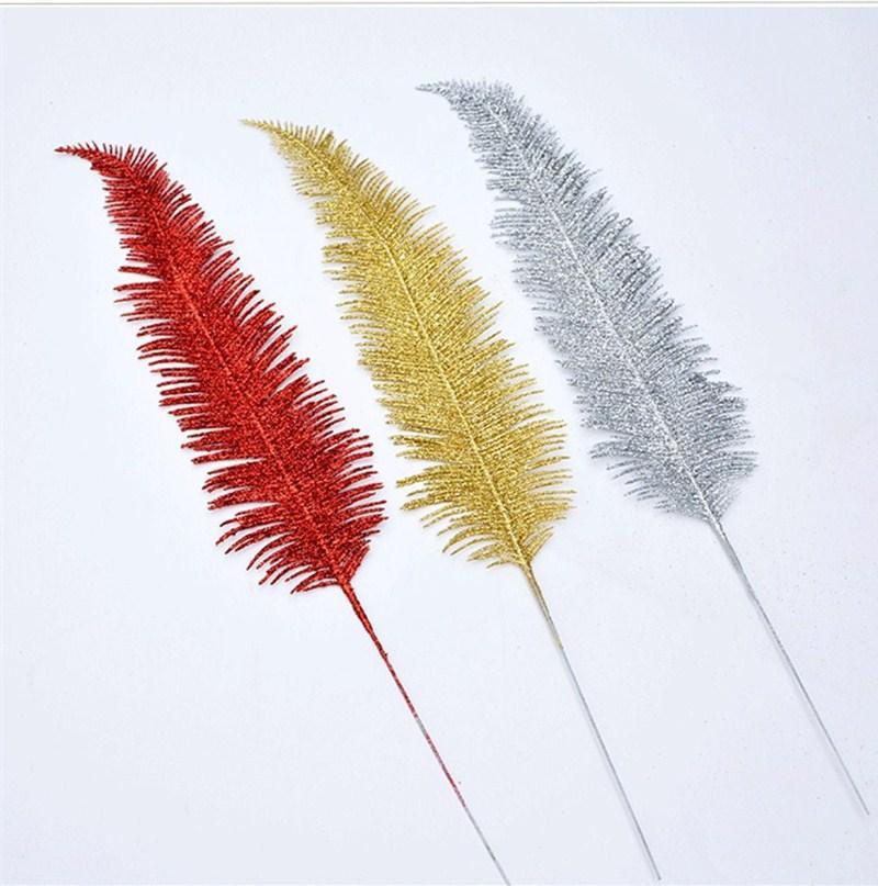 20шт 42см Для рождественских украшений искусственного пластика пера листьев Xmas листья золотой пыль порошка серебро красного