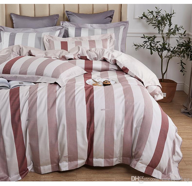 hotel bedding set 60s long-staple cotton four-piece per set Satin hot drilling 8-point binding bandwidth pillow button three color strip