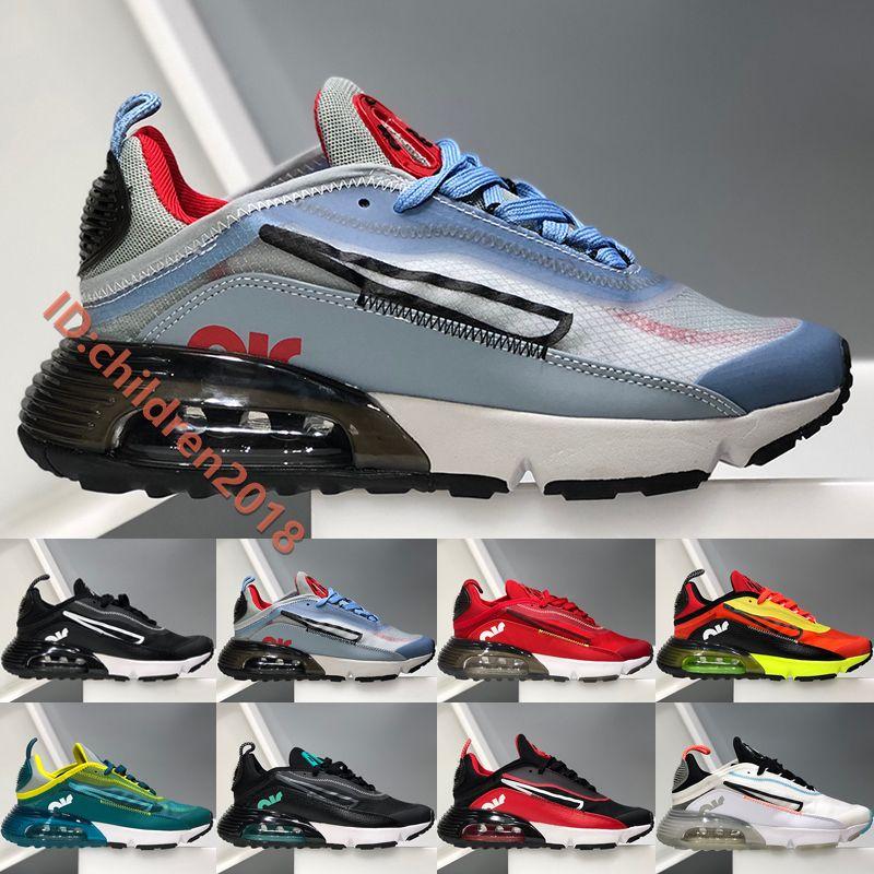 2020 Yüksek Kaliteli 2090 Erkekler Kadınlar Koşu Ayakkabı Air Yastık Orijinal Siyah Beyaz Saf Büyük Çocuk Doğa Sporları Ayakkabı Boyut ABD 5,5-11
