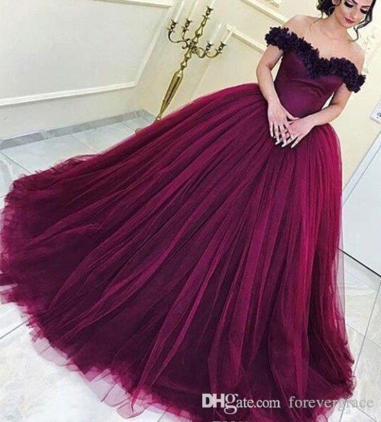 Compre 2019 Vino Rojo Quinceañera Vestido Princesa árabe Dubai Fuera Del Hombro Dulce 16 Edades Long Girls Prom Party Pageant Vestido Más Tamaño Por