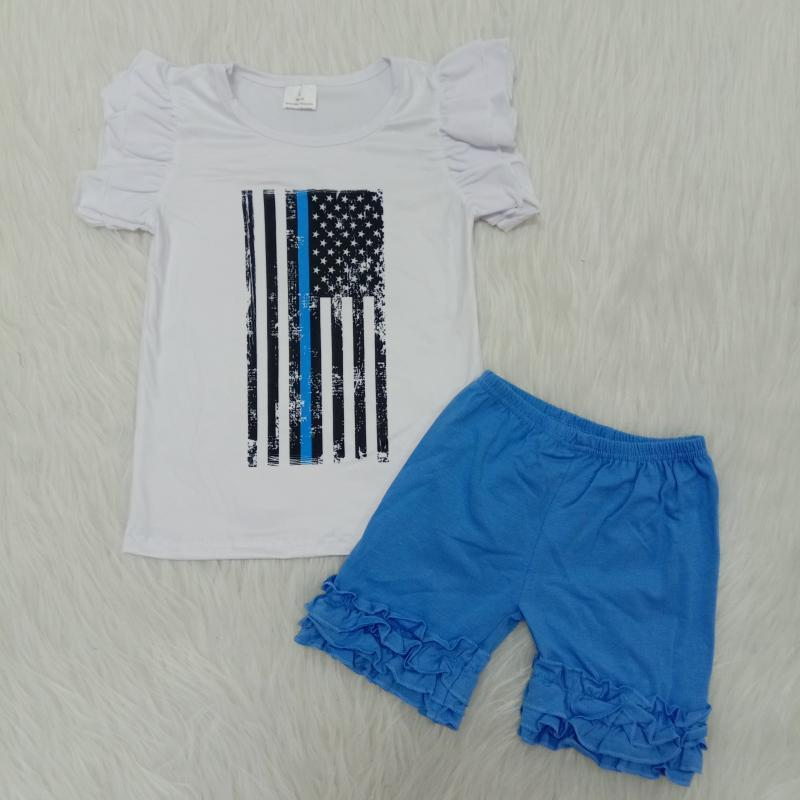 2020 fashion baby girl National Day outfit 2 pieces summer baby girl set clothes flag toddler kid clothes set