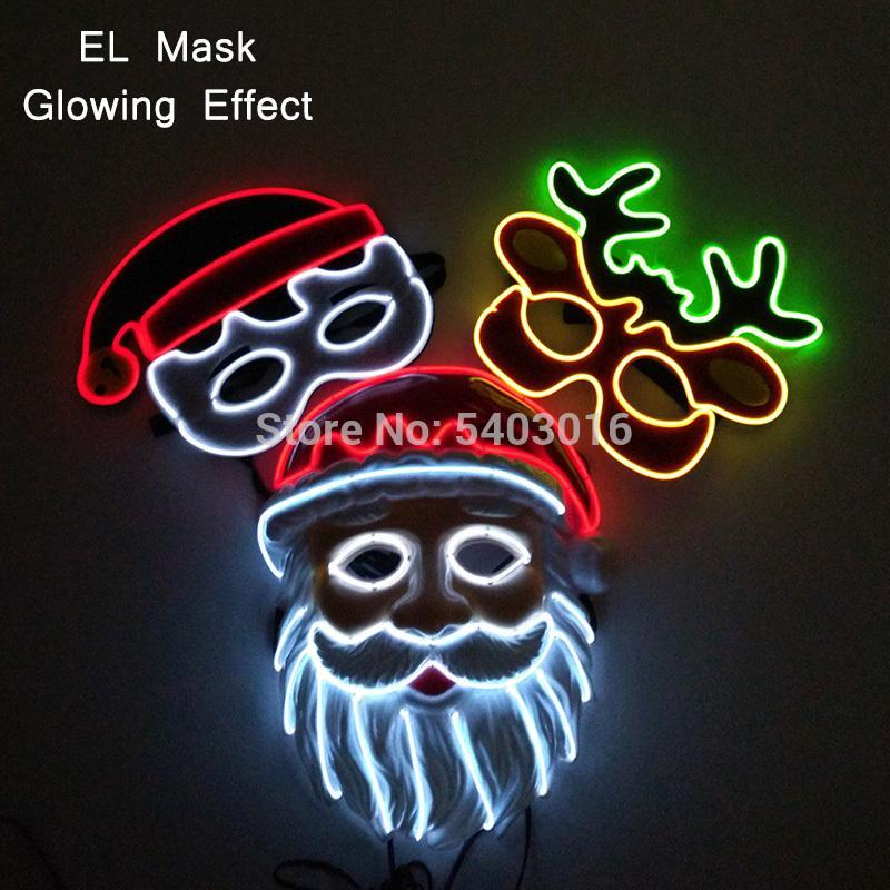 2 Style de Noël Neon LED Masque costumée Masques Purger Cosplay Costume Led DJ Light Party Masque Glow In Dark