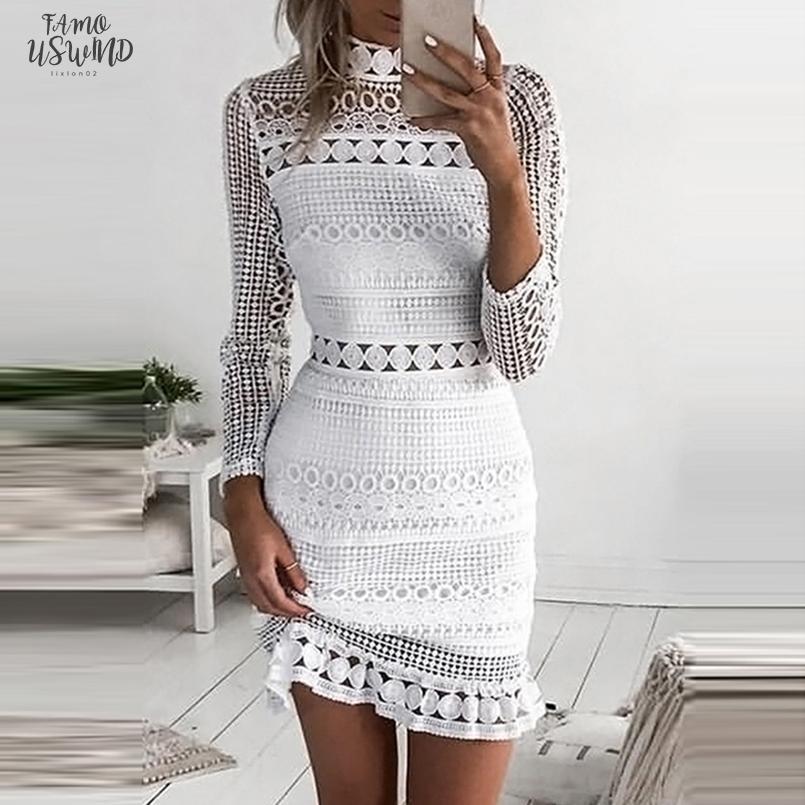 Weiße Spitze-Kleid-Frauen-Partei-Kleider Weibliche Vestidos elegante Damen, figurbetontes Kleid Fest Langarm Tiered Wickelkleid