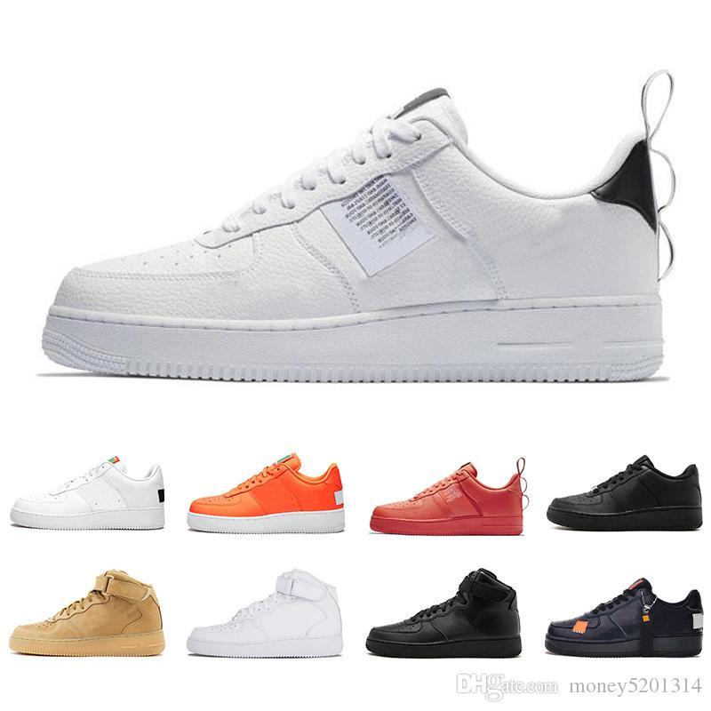 Nike Air Force One 1 Avec Fashion Box 1 Utilitaire Classique Noir Blanc Vert Hommes Femmes Chaussures de course rouge un sport High Low Cut Chaussures de sport Formateurs blé