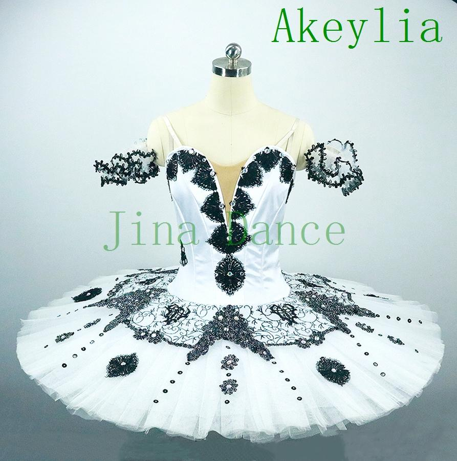 Harlequinade Professional Tutu Para Criança Branco Preto Pancake Platter Desempenho Tutus Mulheres Ballet, Figurino, vestido Tutu