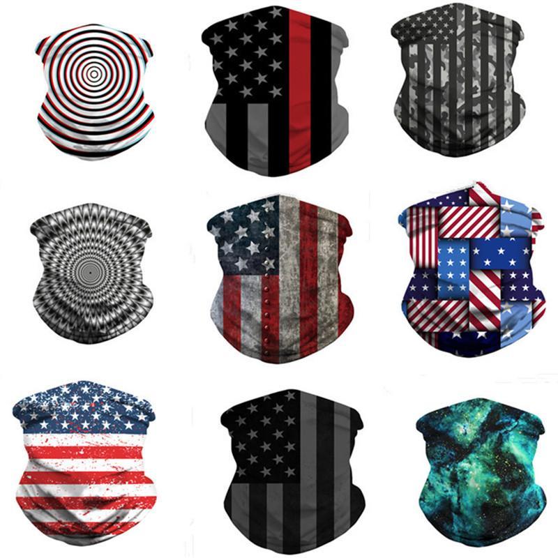 La magia de la bandera americana de la bufanda de impresión en 3D de la mascarilla Hombres Mujeres a prueba de polvo protector solar Pañuelos Pañuelo lavable tubo de Headwear de ciclo al aire libre Máscaras regalo