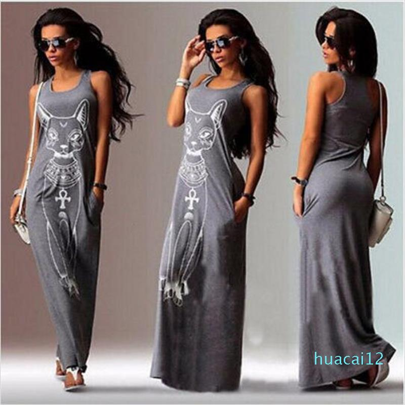 Venta caliente verano de las mujeres del vestido largo maxi casual del gato Imprimir Boho Beach Party noche atractivo Vestido ajustado vestido Vestidos más el tamaño XXXL