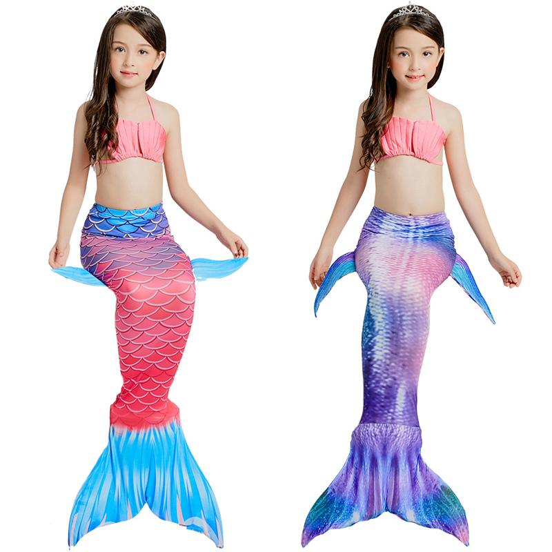 Ariel Little Mermaid Tails for Swimming Costume Mermaid Tail Cosplay Girls Swimsuit Kids Children Swimmable suit
