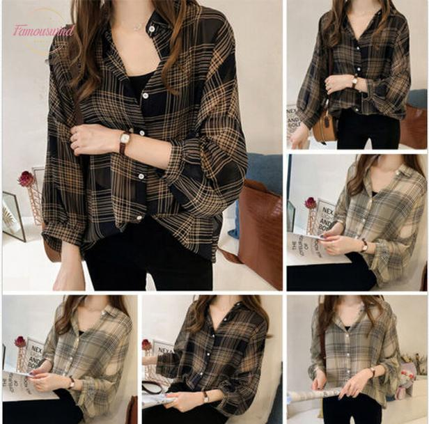 Brand Size Plus Women Blouses Long Sleeve Button Plaids Ladies Shirts Baggy Loose Cool Design Blouse Cap Sleeve New Tops M 4Xl