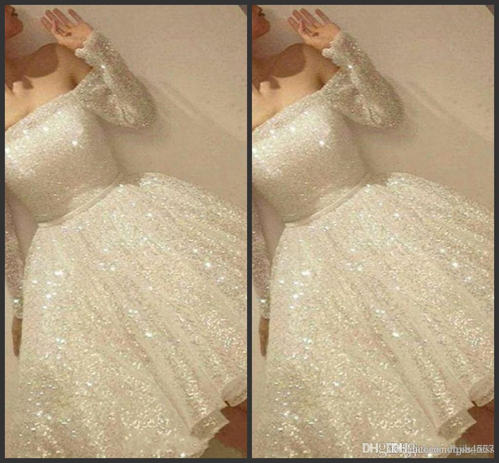 New Arrival White Shine Short Homecoming Dresses Sequins Off The Shoulder Long Sleeve Party Dress Thin Ribbon A-Line Cocktail Dress PD1