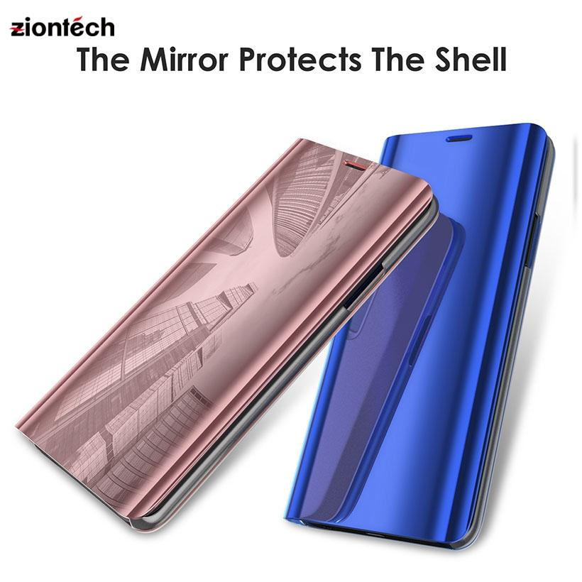 Smart Plating Mirror Cases For Samsung S6 S7 Edge S8 S9 Plus+Note 8 Smart View Shockproof Bracket Leather Case