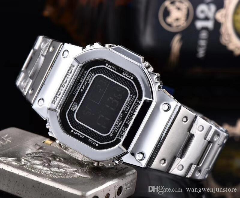소매 스포츠 럭셔리 골드 시계 스틸 벨트 얇은 전자 시계를 LED