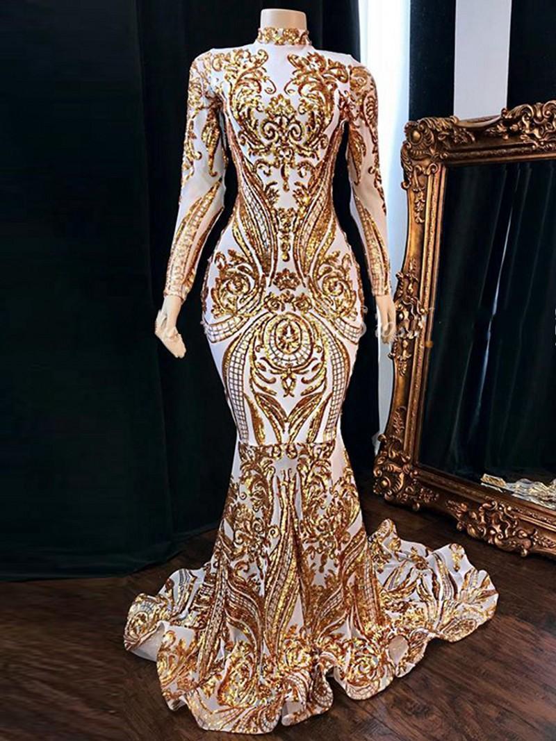 2020 vestido de partido del cordón de las mujeres de África vestidos de fiesta vestidos de baile de manga larga de cuello alto con lentejuelas de oro blanco satinado