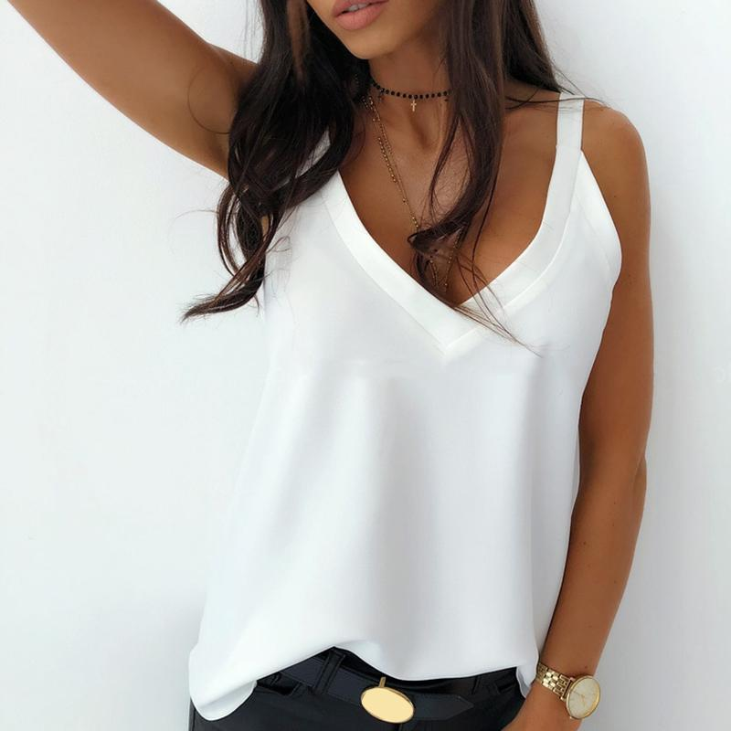 Sin mangas atractiva del verano estilo de las mujeres sin mangas de camiseta floja V cuello de la camiseta que basa la Tanques Tees Streetwear Blanco Negro leopad