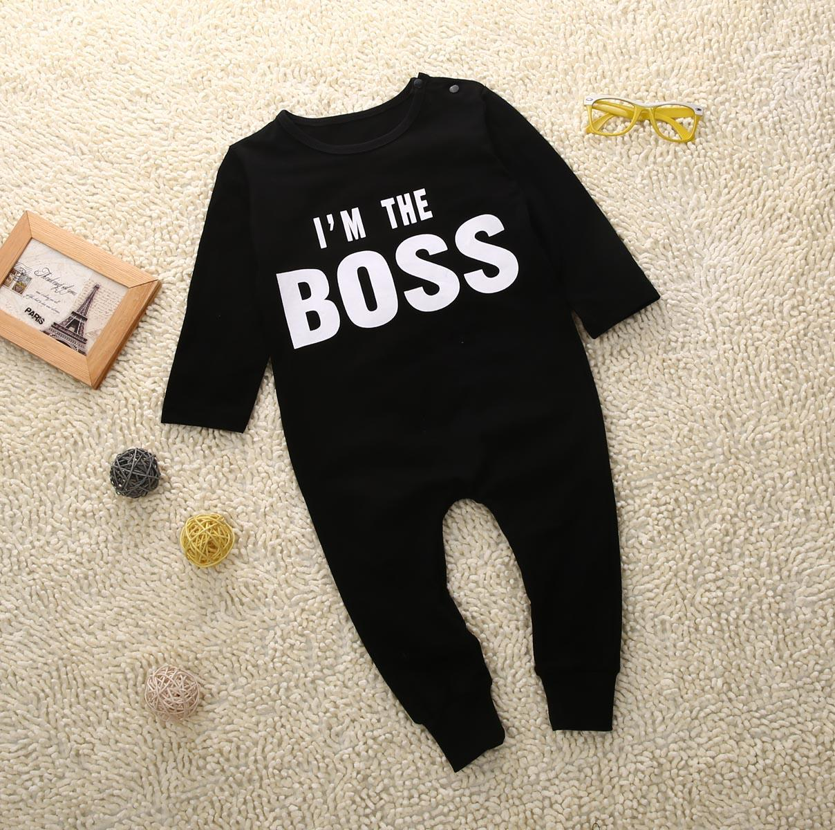 Roupas US STOCK One-Pieces Bebê Romper Newborn Infant Baby Boy Black Girl Cotton Crianças Carta Romper Jumpsuit Clothes Outfit