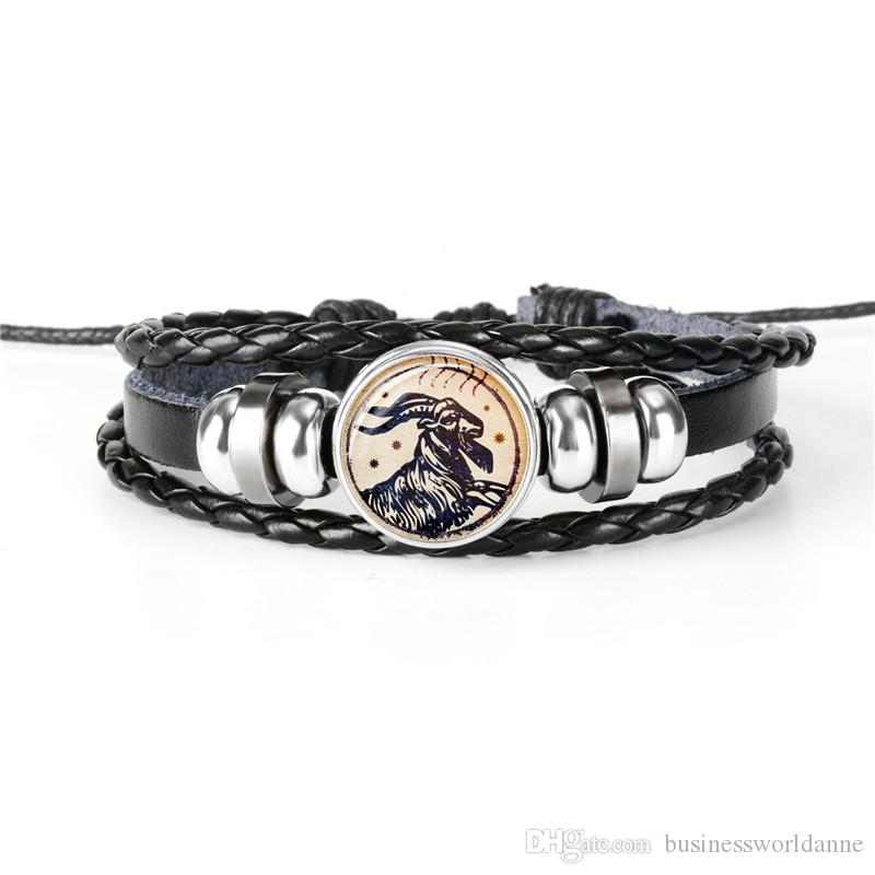Vintage 12 Constellations Zodiac Aries Time Gem Glass Cabochon Bracelet Cowhide Leather Rope Beaded Wrap Boho Women Men Jewelry Dropshipping
