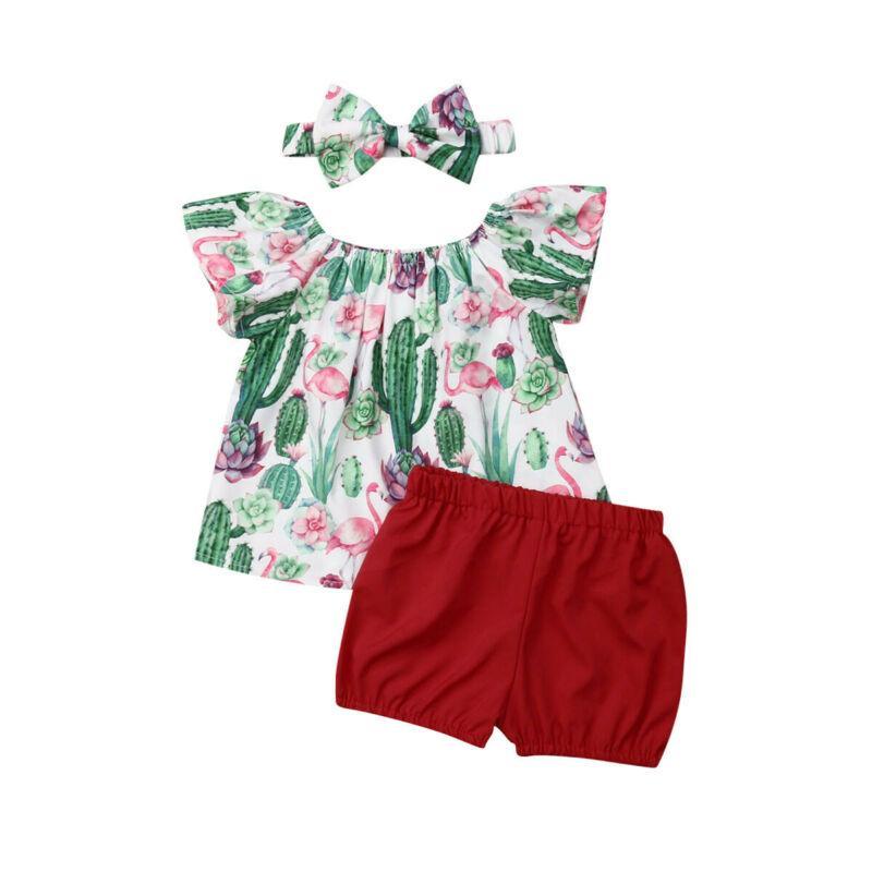 Moda Kids Clothing Infante recém-nascido Baby Girl Summer manga curta Floral Tops T-shirt cacto impressão equipamento dos shorts Set Clothes