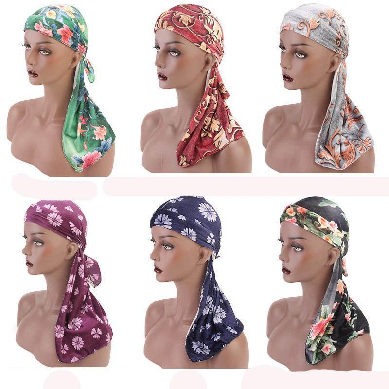 Nuovo tessuto di velluto Stampa floreale Durag Long Tail cinghie larghe du straccio Bandane doo straccio turbante fascia del fiore Accessori per capelli