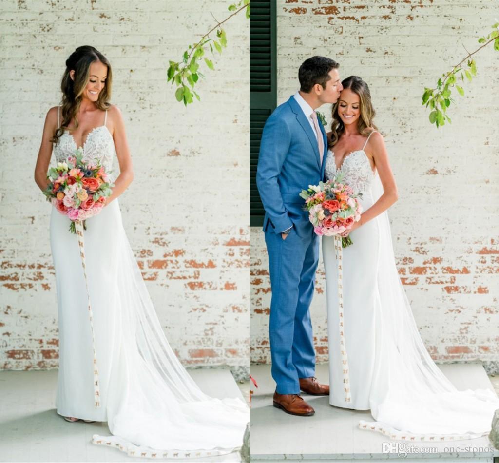 2019 Spaghetti Open Back Bohemian Wedding Dresses Elegant Lace Appliqued Mermaid Beach Country Boho Bridal Gowb
