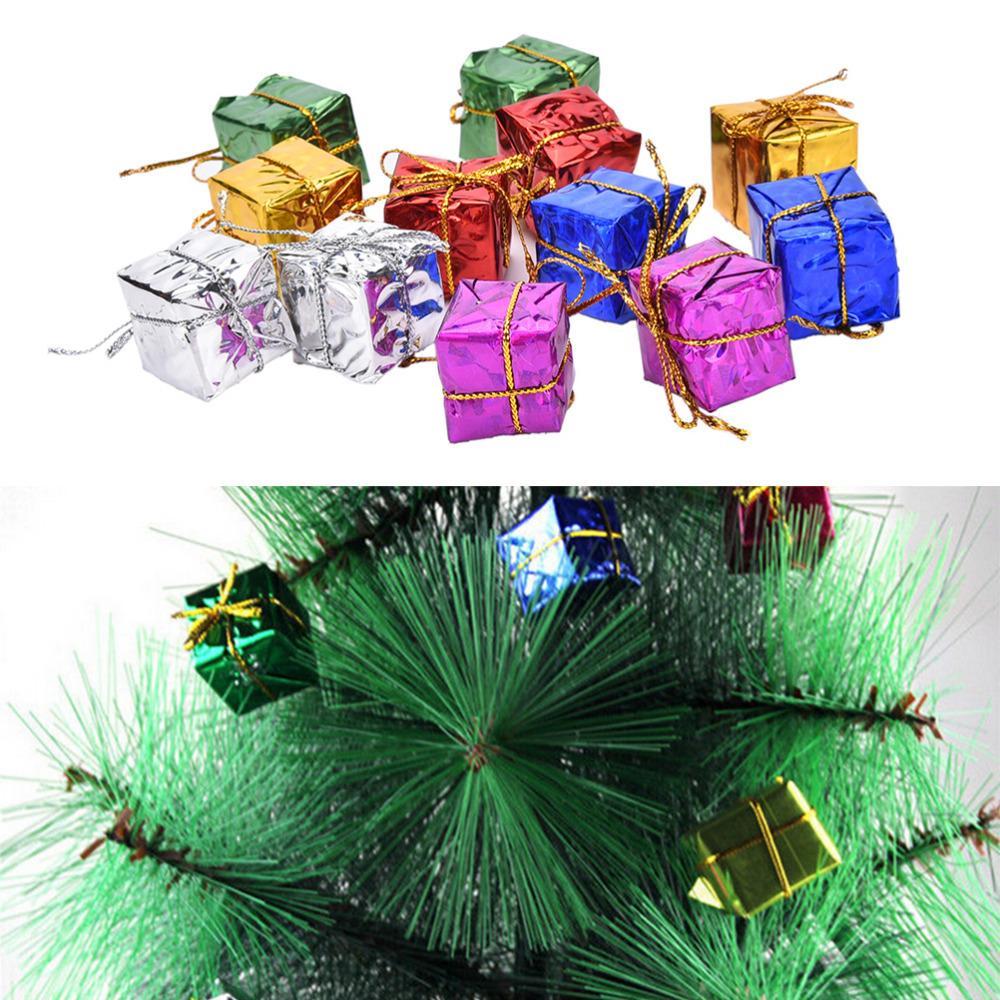 12pcs / set shinny coffrets cadeaux paquet fête arbre de noël pendaison décoration noël décoration ornement