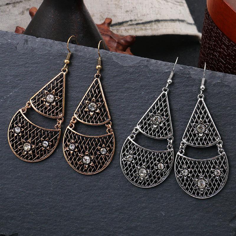 Pendientes de gota de agua de la vendimia de la venta caliente para las mujeres oro antiguo hueco de plata pendiente pendiente del diseño geométrico único de joyería moderna