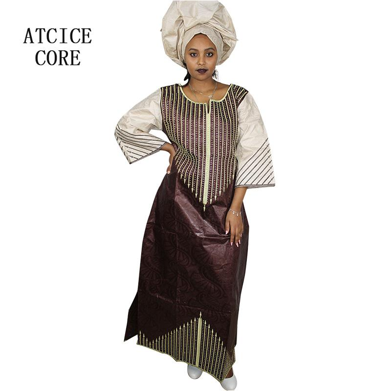 A068# african new fashion design bazin embroidery design dresses long dress with scarf A068
