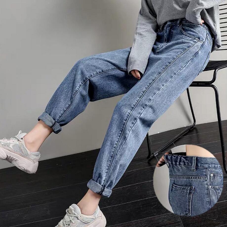 AprilGrass Marque Cotton Straight Jeans Femme Elasticité taille haute Jeans Femme Taille Plus Mom Blue Jeans Nouveau vrac Sarouel Vente chaude