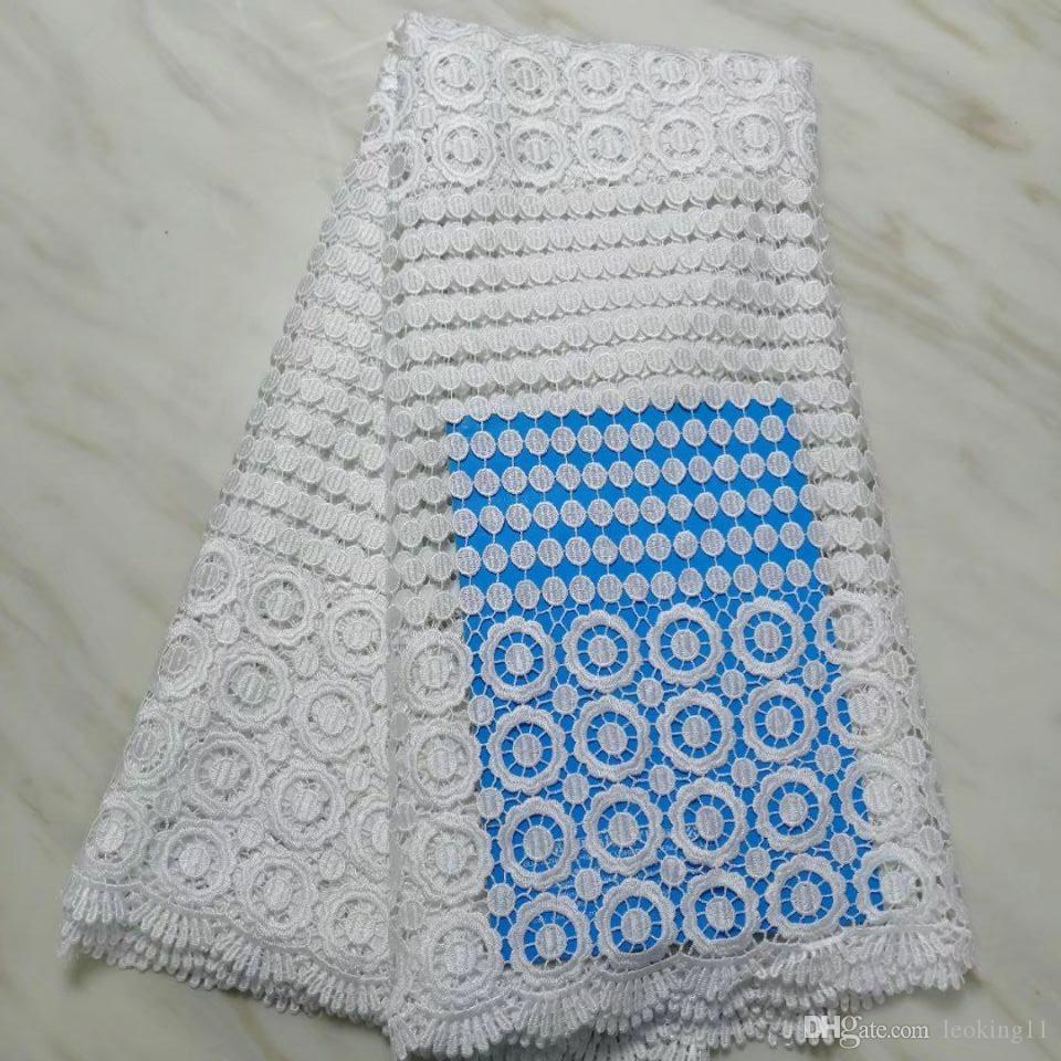 5Yards/pc Popular white african water soluble lace embroidery french mesh guipure lace for dressing BW45-8