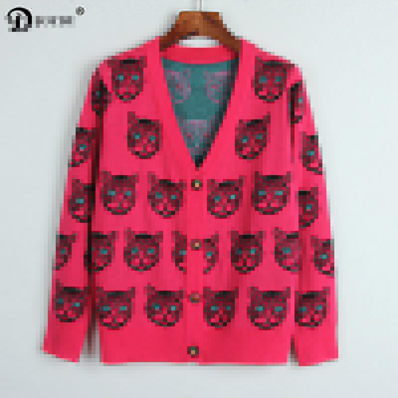JOYDU Runway Designer Cardigan 2017 New Winter Cat Head Pattern Vintage Oversized Sweater Jacket Jersey Luxury Wool Knit Jumper