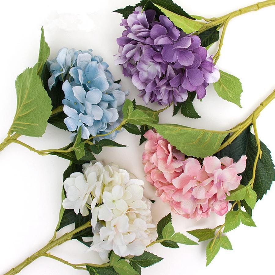 Parti Malzemeleri Yapay Ortanca Çiçek Kafası 47 cm Sahte Ipek Tek Gerçek Dokunmatik Ortanca Düğün Centerpieces için Ev Çiçekler RRA2390