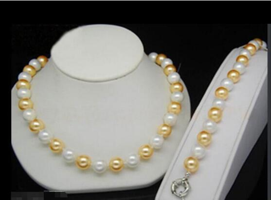 Jewelryr Pearl Set Bracciale Abbastanza alternativo 12MM YellowWhite colori mare del sud Shell collana di perle di trasporto