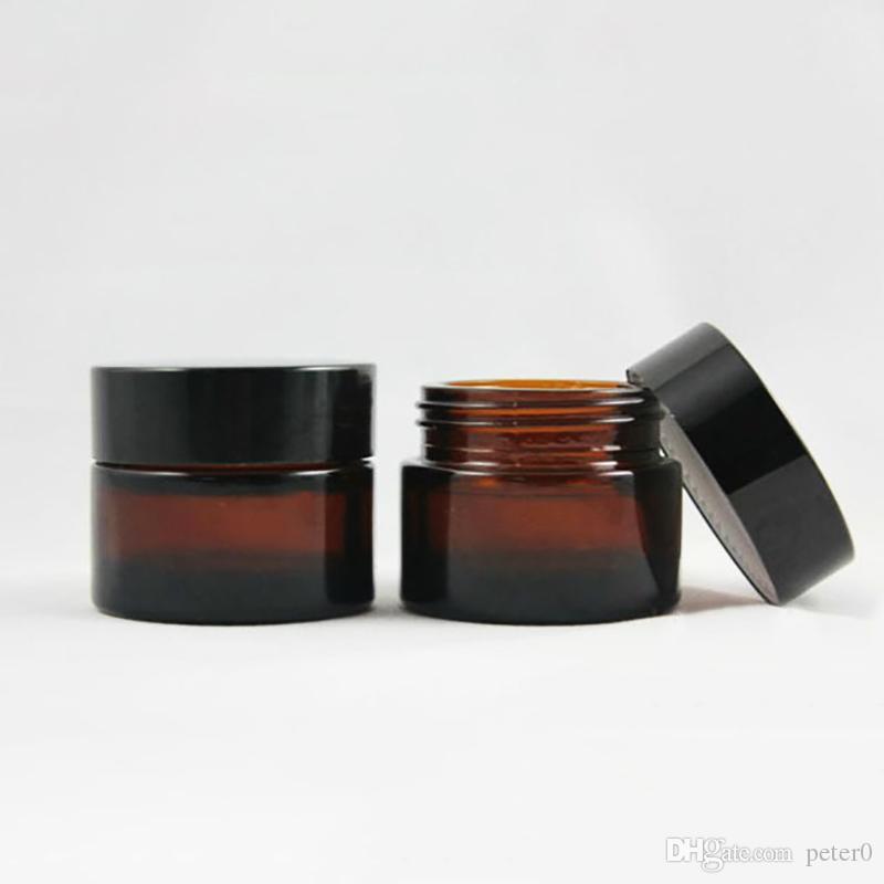 براون العنبر زجاج كريم جرة غطاء أسود 20 30 50 غرام جرة مستحضرات التجميل التعبئة عينة كريم العين
