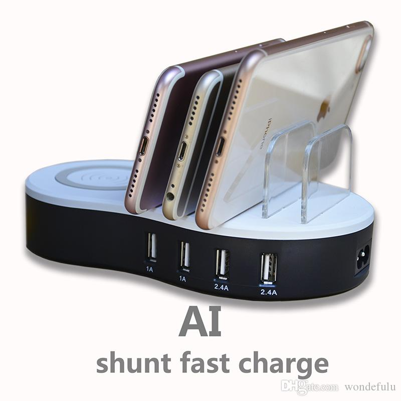 새로운 AI 스마트 빠른 충전 스테이션 범용 멀티 포트 USB 충전 스테이션 4 포트 USB 무선 고속 충전 도크