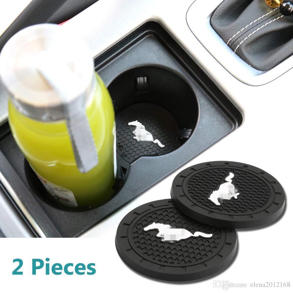 머스탱 모든 모델에 대한 2 PC를 2.75 인치 자동차 인테리어 액세서리 안티 슬립 슬롯 컵 매트