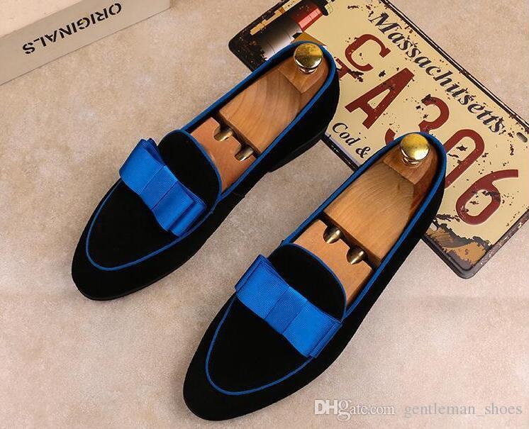 Moda genuína patente couro homens vestido de casamento sapatos com laço de banquete de banquete formal homens mocassins planos recepção festa sapatos