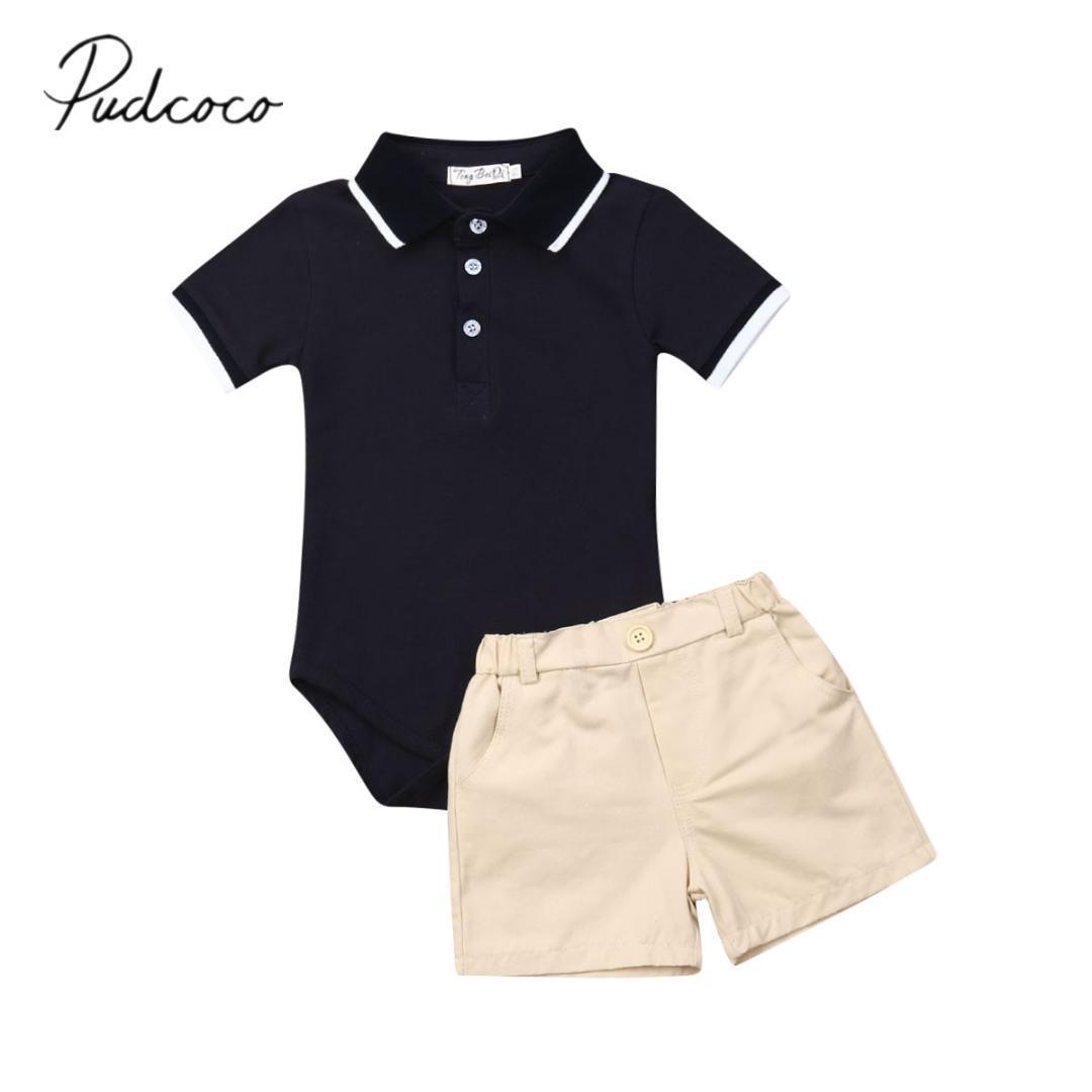 2019 Ropa de bebé verano infantil del bebé recién nacido ropa del muchacho del caballero azul mono del mameluco del traje + cortos Bottoms 2pcs
