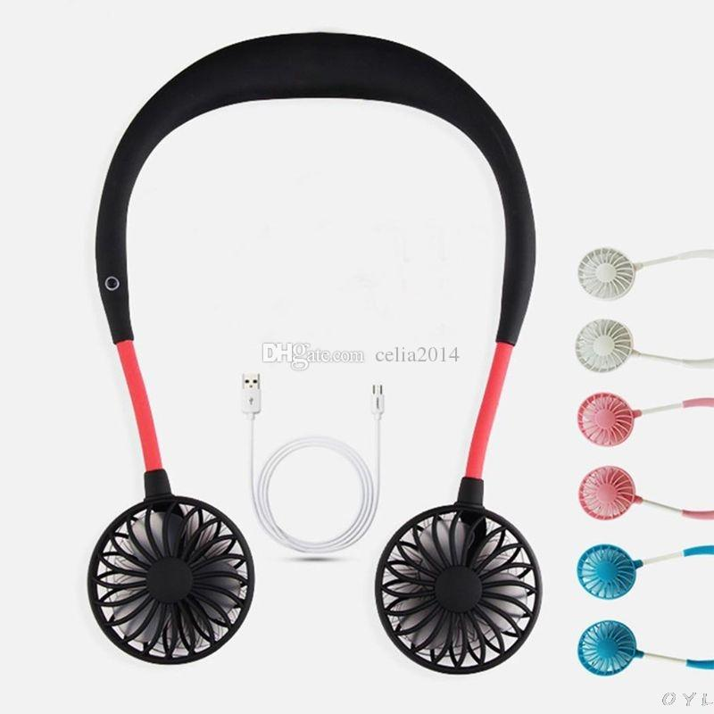 2019 été mains libres cou paresseux bande suspendue USB rechargeable sport double ventilateur mini refroidisseur d'air portable 3 vitesses grande batterie
