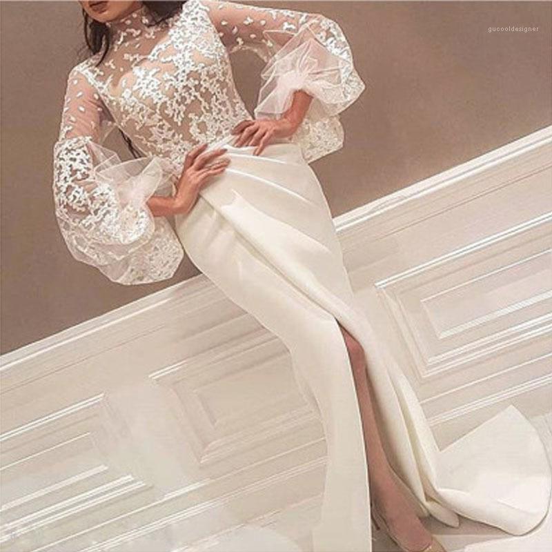 우아한 드레스 화이트 스탠드 칼라 Landies 패션 의류 여자의 섹시한 레이스 파티 드레스 디자이너 높은 분할 참조 비록 퍼프 슬리브