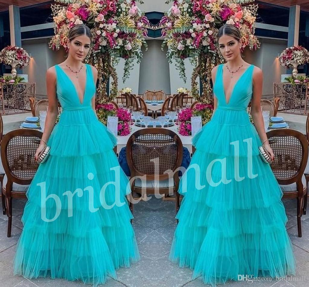 V Neck Aquamarine Long Prom Dresses 2019 South African Formal Party Gowns Tiered Layers Dubai Arabic Cake Evening Dress Vestido de fiesta