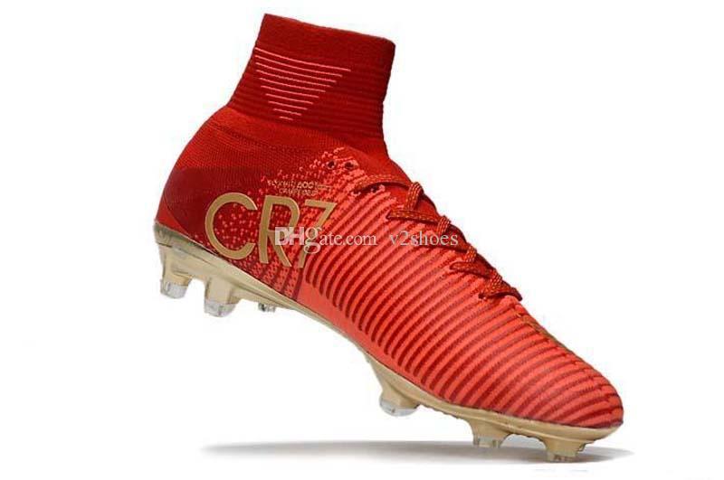 Novità CR7 Scarpe da calcio per bambini Rosso oro Mercurial Unisex Superfly V Tacchetti da calcio Cristiano Ronaldo Uomo Scarpe da calcio per bambini Magista Obra
