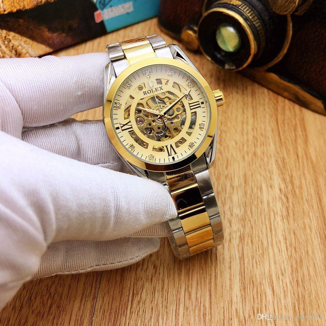 Fashion Hollow Dial Business Men's Mechanical Watch Stainless Steel Strap Waterproof Diameter 39mm Thickness 12mm Golden color dial