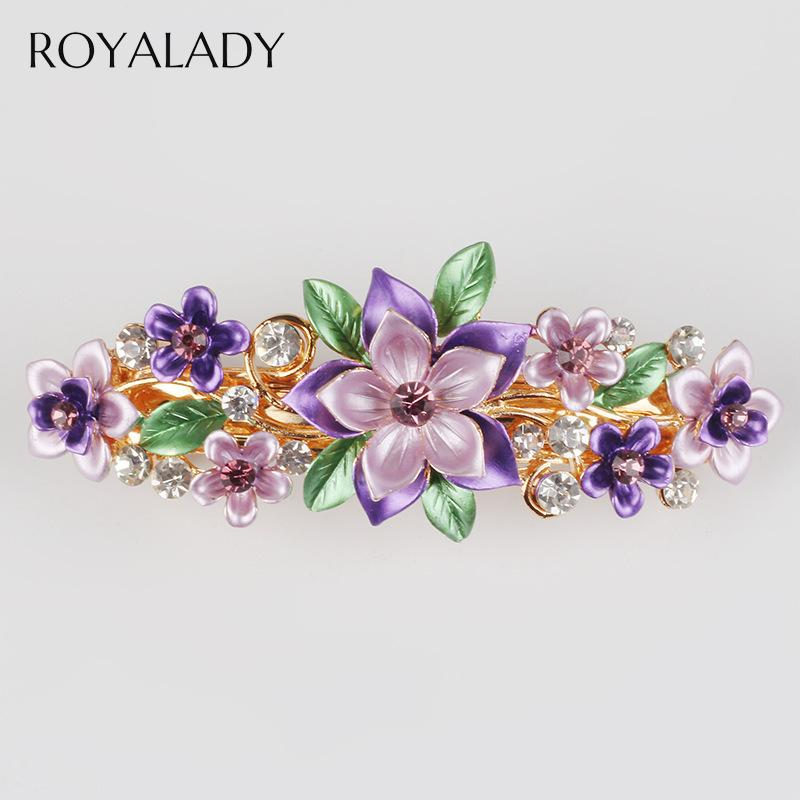 Accessori gioielli a buon mercato Bella fiore Handmade della clip Barrettes Moda forcella a cristallo dei capelli delle donne di nozze viola dei capelli del fiore