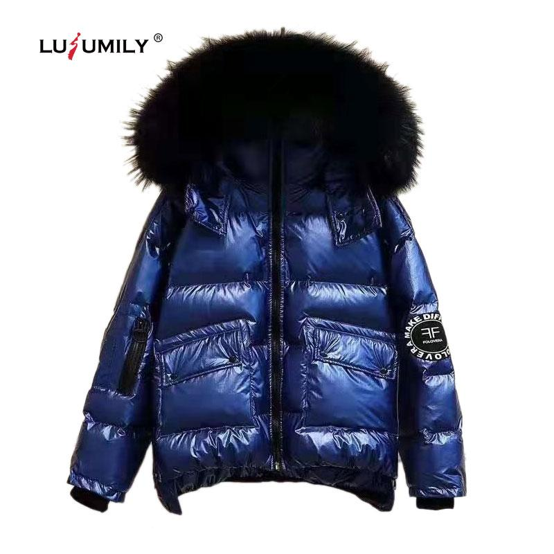 Lusumily Winter Glossy Jackets And Coats Women Thick Loose Bright Side Warm Jacket Female Fur Collar Short Hooded Windproof Coat