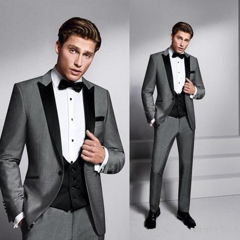 New High Quality One Button Gray Groom Tuxedos Peak Lapel Groomsmen Best Man Suits Mens Wedding Suits (Jacket+Pants+Vest+Tie) 840